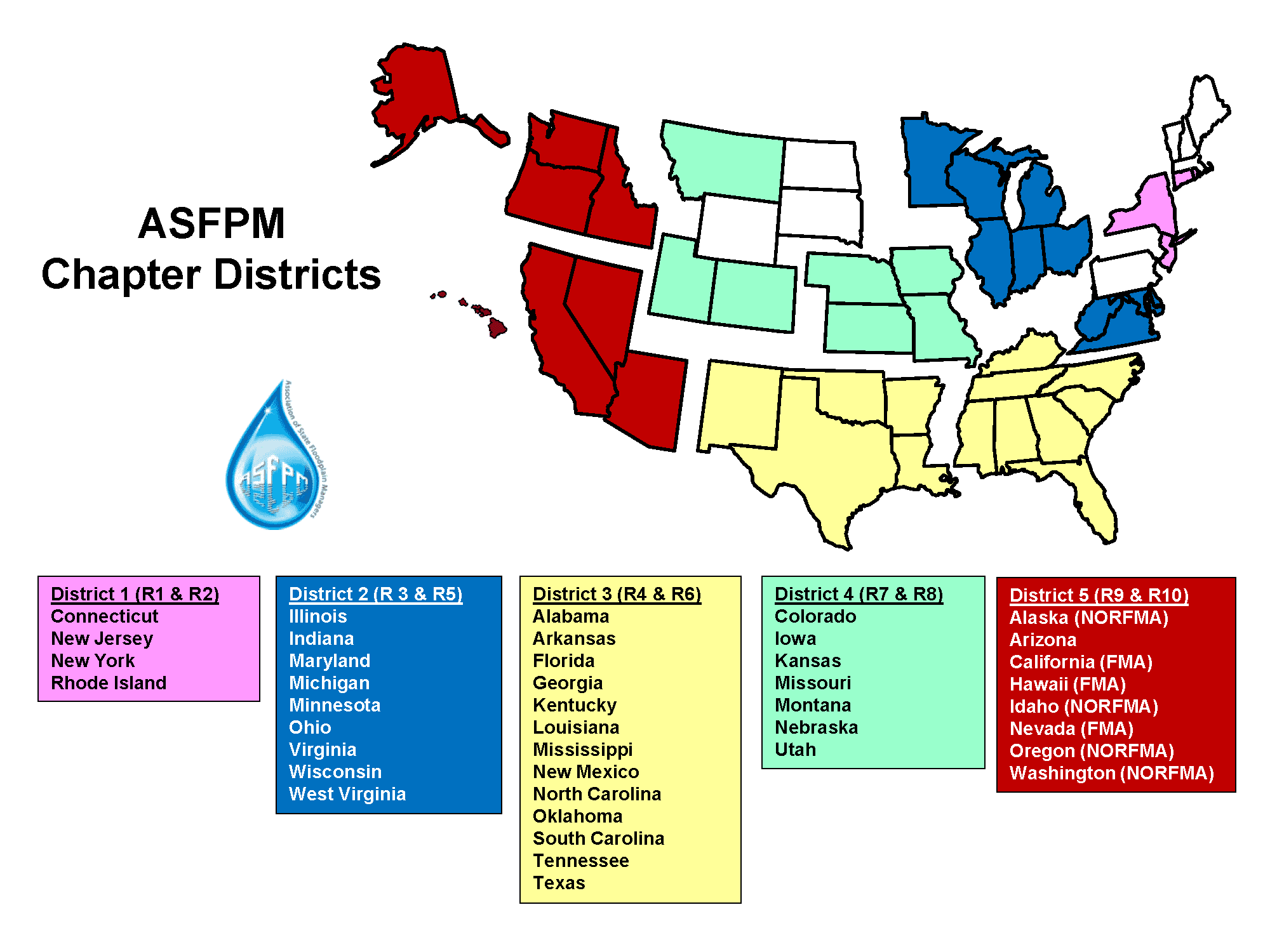 ASFPM Chapter Districts Map