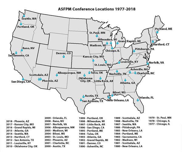 ASFPM Annual National Conference Locations 1977-2018