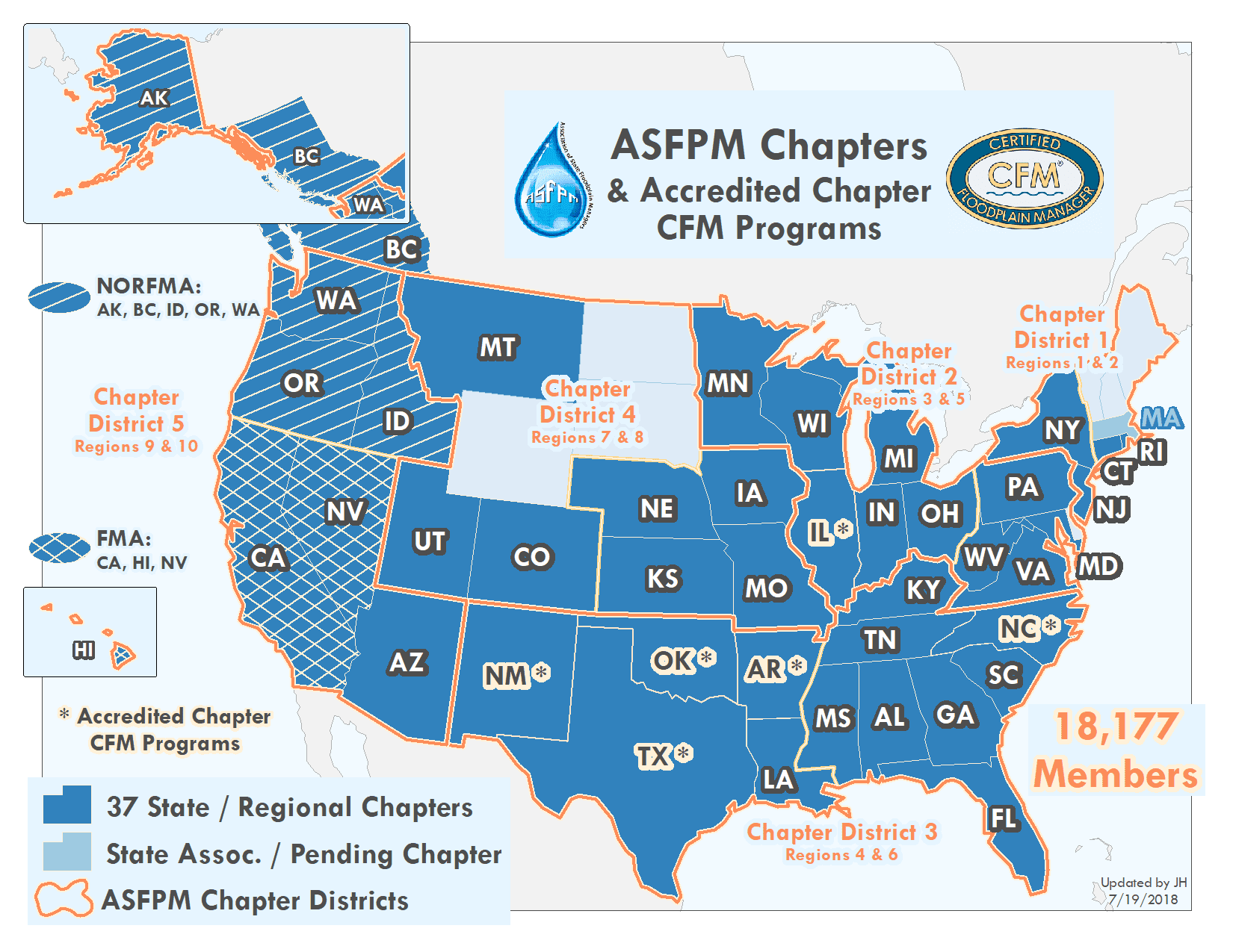 ASFPM Chapters & Accredited Chapter CFM Programs
