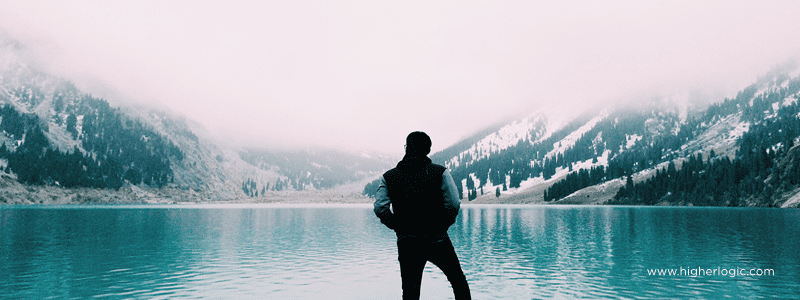 Man viewing the mountains