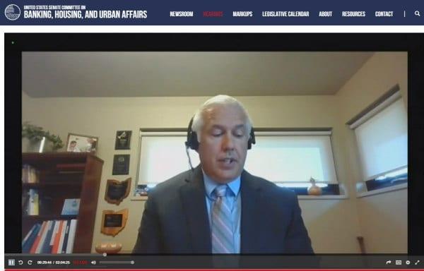 Chad Berginnis testifying at Senate Committee hearing on NFIP reauthorization