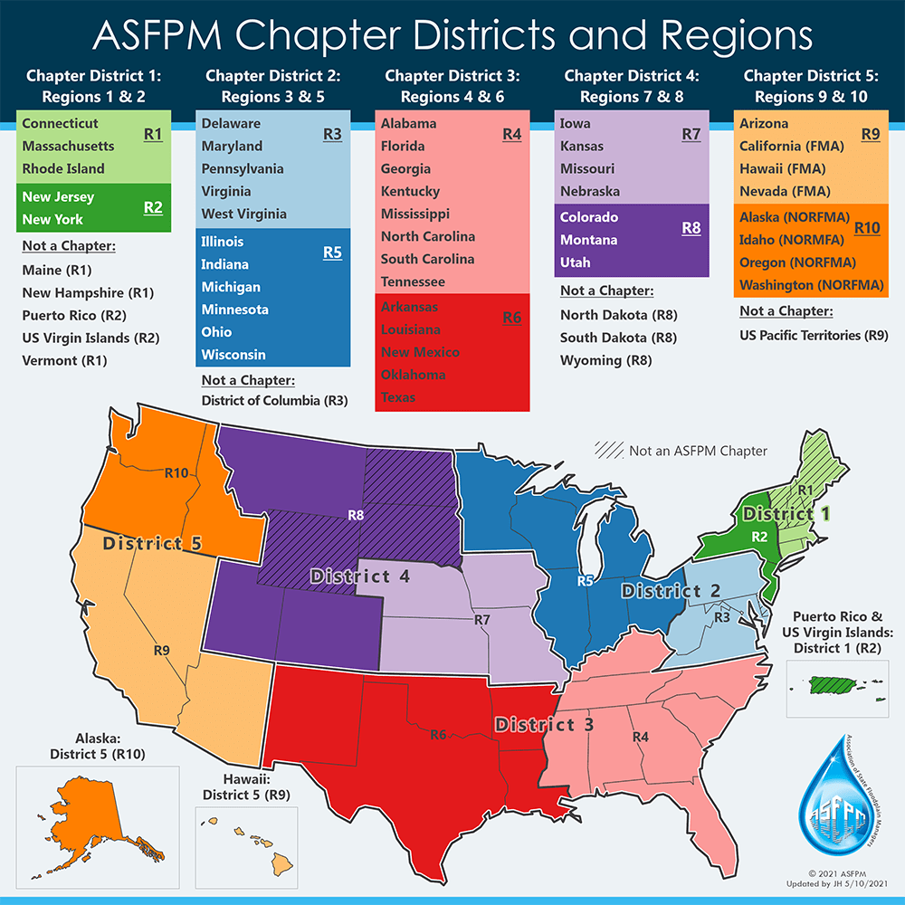 ASFPM Chapter Districts Regions Map