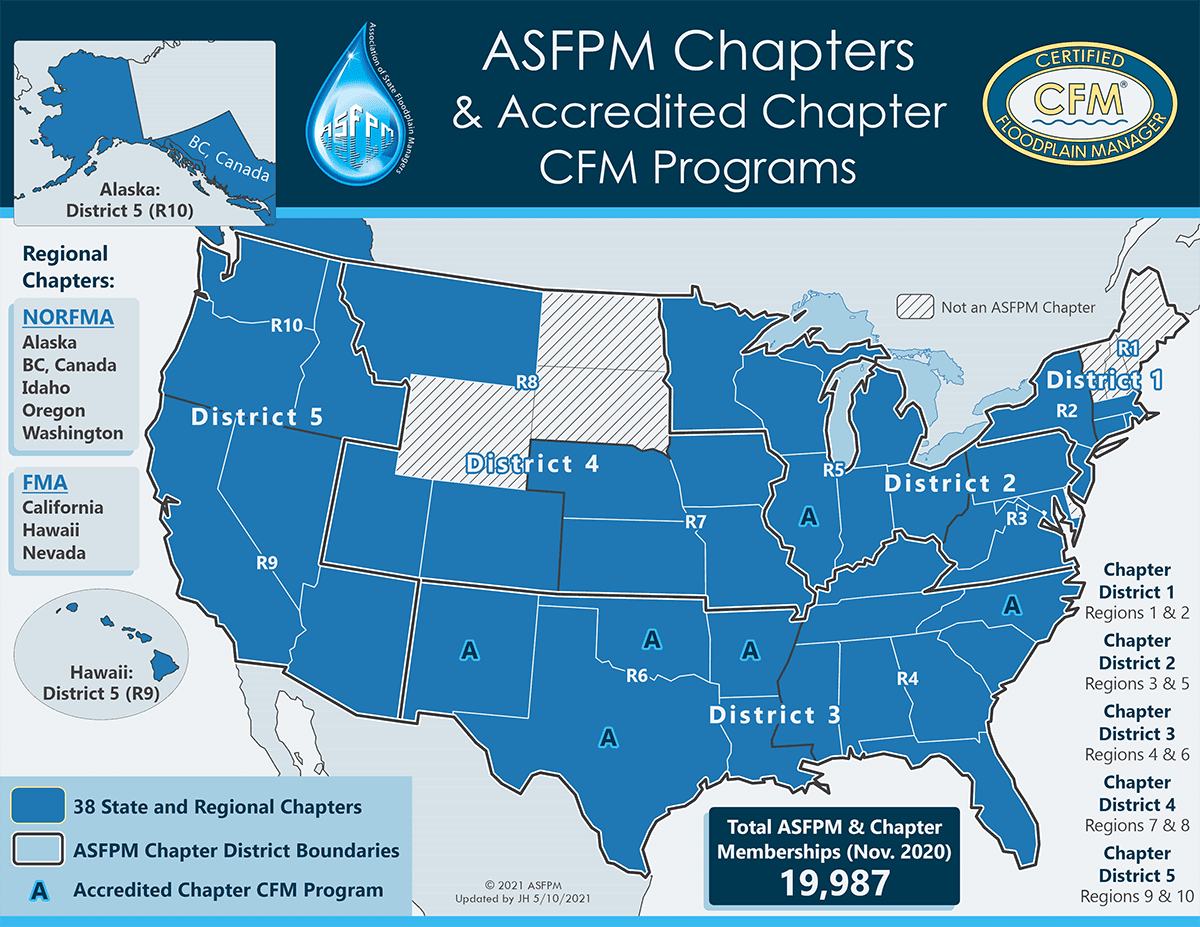 ASFPM Chapters & Accredited Chapter CFM Programs Map